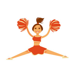 Cheerleader in orange uniform with pompons jumps vector
