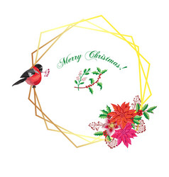 Christmas decoration with bird and poinsettia vector