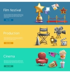 Cinema banner set vector image
