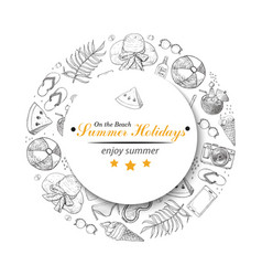 circle from summer beach elements vector image