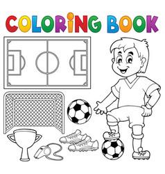 Coloring book soccer theme 1 vector