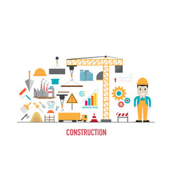 construction icons in flat style vector image