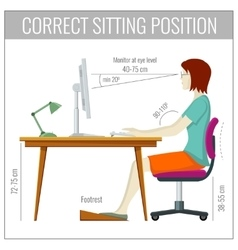 Correct spine sitting posture at computer health vector