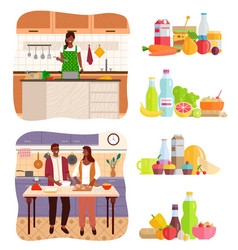 Couple cooking in kitchen at home set food vector