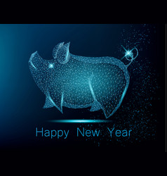 Cute polygonal pig on blue background vector