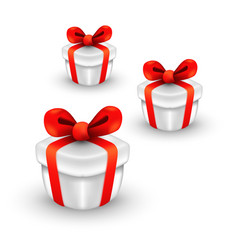 Cute three gift boxes christmas box with red vector