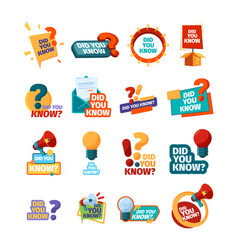 Did you know ads promotional symbols talking vector