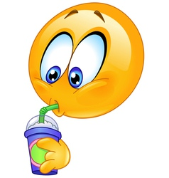 drinking soda emoticon vector image