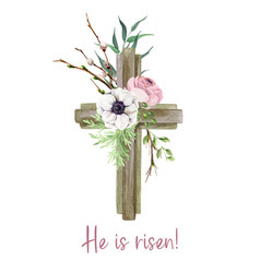 easter cross with floral elements decor vector image