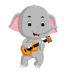 Elephant playing guitar vector