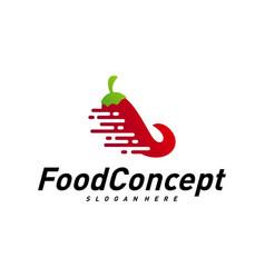 fast food logo concept red chili logo design vector image