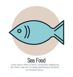 Fish sea food isolated icon vector