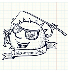 Fishing sun vector