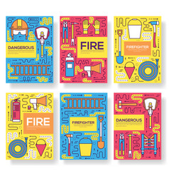flat firefighter uniform brochure cards vector image