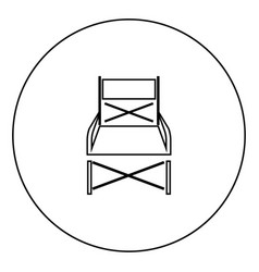 Folding chair black icon in circle outline vector