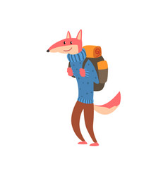 fox travelling with backpack cute cartoon animal vector image