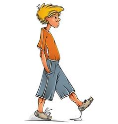 Funny walking teenager boy vector