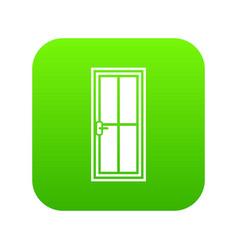 Glass door icon digital green vector