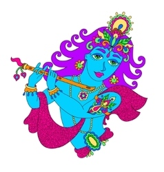 God lord krishna for janmashtami festival vector