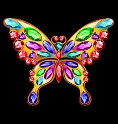 gold brooch in the shape of a butterfly with gems vector image