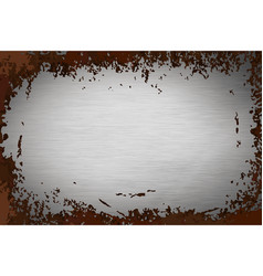 Gray metallic foil texture with brown rust texture vector