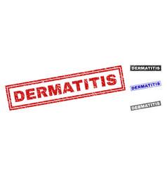 Grunge dermatitis scratched rectangle stamp seals vector