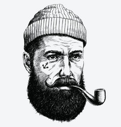 Hand drawn vintage hipster sailor with thick beard vector