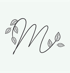Handwritten letter m monogram or logo brand vector