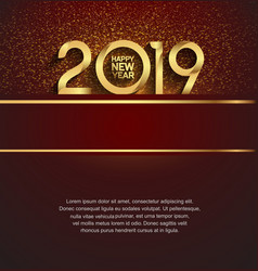 Happy new year 2019 golden color with golden vector