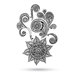 Henna Flowers and Paisley Mehndi Tattoo Doodles vector