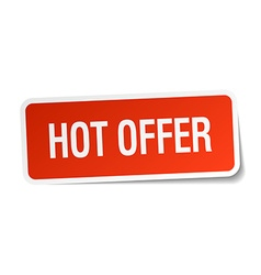 Hot offer red square sticker isolated on white vector