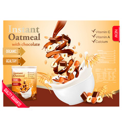 Instant oatmeal with chocolate and hazelnut vector