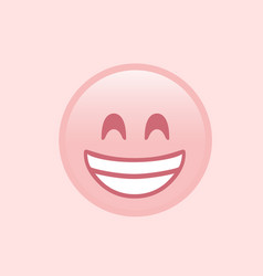 isolated pink smiling face with white teeth icon vector image