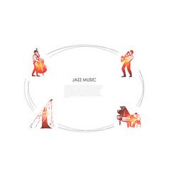 jazz music - cellist saxophonist vector image