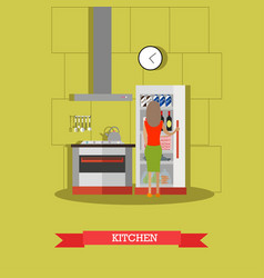 kitchen in flat style vector image
