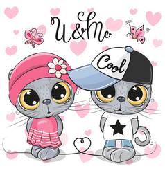 Kittens boy and girl on a hearts background vector