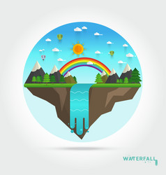 landscape mountain river waterfall vector image