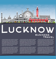 lucknow skyline with gray buildings blue sky and vector image