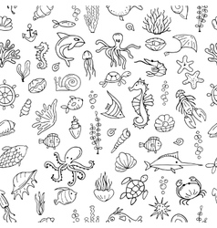 Marine life seamless pattern for your design vector image
