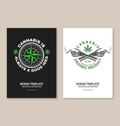 Medical cannabis poster flyer template vector