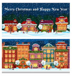 merry christmas and happy new year city streets vector image