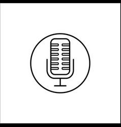 Microphone line icon mobile sign and sound vector