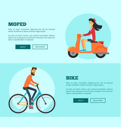 Moped versus bike comparison vector