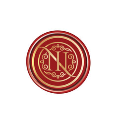n letter monogram luxury logo vector image