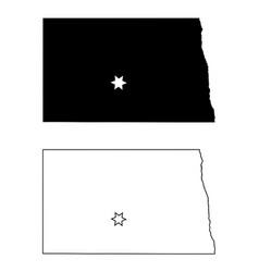 north dakota nd state map usa with capital city vector image