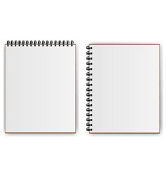 notebooks with spiral shadow horizontally and vector image