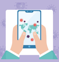Online health hands with infected smartphone vector