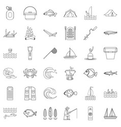 Outdoor icons set outline style vector