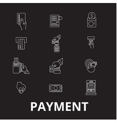 payment editable line icons set on black vector image