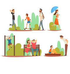 people relaxing and doing sports in park men vector image